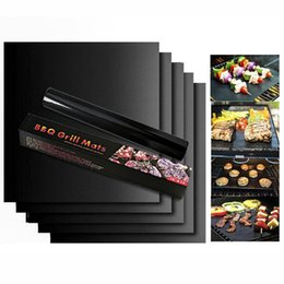 Wholesale Make Cooking - With retail box Barbecue Grilling Liner BBQ Grill Mat Portable Non-stick and Reusable Make Grilling Easy 33*40CM Black Oven Hotplate Mats