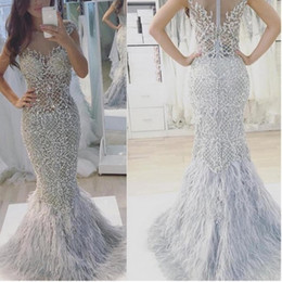 Wholesale Bling Satin Wedding Dresses - Junoesque Beads Feathers Wedding Dresses Illusion Back Beaded Womens Mermaid Dress Floor Length Custom Made Bling Bling Wedding Gown