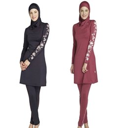 Wholesale Surfing Prints - S-4XL Burkini Women Plus Size Printed Floral Muslim Swimwear Fashion Muslimah Islamic Swimsuit Swim Surf Wear Sport Clothing