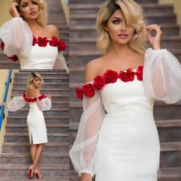 Wholesale Knee Length Puffy Dresses - Sexy White Short Cocktail Party Dresses 2017 Off Shoulder Puffy Long Sleeves 3D Rose Flowers Plus Size Knee Length Cheap Formal Party Gowns