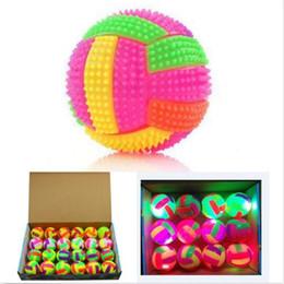 Wholesale massage flash - Wholesale- New 1PCS Light Up Massage Ball Toy Bouncing Ball Flashing Toy Best Kids Birthday Gift Random Color