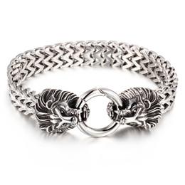 Herren Awesome Geschenke Silber Coole Qualität stainelss stahl 24mm figaro Kette Armband wolf / löwe / schädel Verschluss Schmuck 9