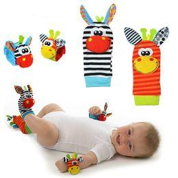 Wholesale Baby Zebra Stuff - Wholesale- Candice guo plush toy stuffed doll baby Rattles Mobiles colorful giraffe zebra Wrist Rattle Foot Socks birthday gift 4pcs set