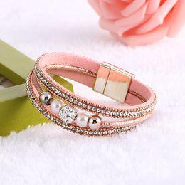 Wholesale Magnetic Wristband Clasps - Wholesale-Hot sale Crystal Rhinestone Imitation pearls Magnetic Clasp Charm Bangle Women Boho Fashion Multilayer Wristband Jewelry