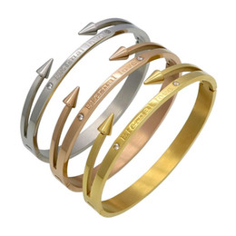 "Wholesale Nail Bracelet Diamonds - New Arrival Brand Conical Arrows Imitation Diamond Bracelets & Bangles Gold Plated ""Eternal love"" Nail Cuff Bracelet For Women"