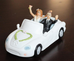Wholesale Marry Gift Box - Resin doll car Just Married Cake Topper Wedding Decorations Romantic Touching Story Telling Wedding Cake Decorations 2016 May Style
