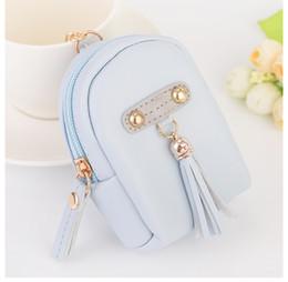 Wholesale Purse Ornaments - 4 Colors Fashion Jewelry Backpack Pendant Tassel Purse Car Key Chain Bag Ornaments Creative Small Gift Wholesale Key Chains