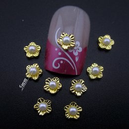 Wholesale Art Crush - Wholesale- YNS094 5MM pearl gold alloy 3d nail art decorations crushed surface flower supplies 10pcs
