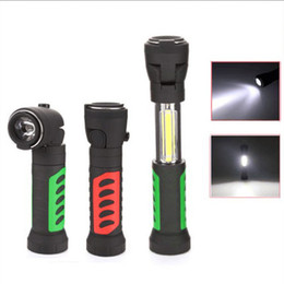 Wholesale Hook Magnet Led Flashlight - Multifunction COB Work Overhaul Lights Multi-angle Telescopic LED Flashlight With Magnet Hook Ooutdoor Camping Lighting Torch