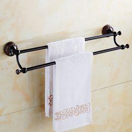 Wholesale Rails Double - Black Bronze Finished Rack Vintage Towel Rack Holder Towel Shelf Tower Rail Towel Hanger Antique Decoration Bathroom Hardware Accessories
