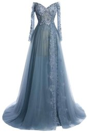 Wholesale Crystal V Back Lace - Long Arabic Lace Evening Dresses Haze Blue Cap Long Sleeves Lace Sequins Plus Size Pregnant Dress for Women Middle East Custom Made Gowns