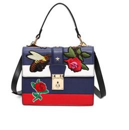 Wholesale Handbag Flower Satin - women bag top-handle bags leather handbag women famous brand embroidered bags star tiger head crossbody bag luxury tote free shipping