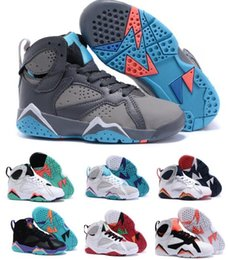 Wholesale Toddler Girls Shoes China - Discount Kids Retro 7 Shoes Children Boys Girls Baby Toddler Air Retro 7s Basketball Shoes China Brands White Original Sneakers Size 11C-3Y
