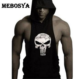 Wholesale Mens Summer Hoodie - Wholesale- 2016 Mens bodybuilding summer tank top muscle tank tops bodybuilding vest skull summer hoodie vest sportwear tank for man