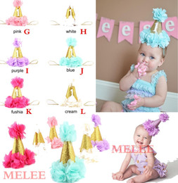 Wholesale Mini Crown Headband - Cute Newborn Mini Felt chiffon Girls Infant petals Crown Hat Caps Flowers Headbands For Baby Girls 1st Birthday Party Hats Hair Accessories
