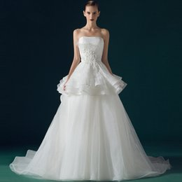 Wholesale Tulle Strapless Ball Gown China - 2016 Newest Luxury Vintage Wedding Dresses With Tulle A Line Chapel Train Lace Beaded Corset China Wedding Dress Bridal Gowns with Peplum