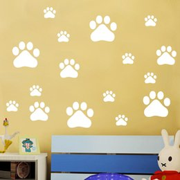 Wholesale Black Bear Wall - Removable Footprint Wall Stickers Scenery Wallpaper Mural Art PVC Vinyl Home Decoration Little Bear Tracks Wall Decal 2 8tm J R