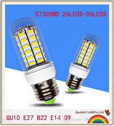 Wholesale E14 18w - YOU 5PCS E12 E14 E26 E27 B22 G9 GU10 LED Corn Light Bulb 7W 12W 15W 18W 21W 30W SMD5730 LED Corn Lamp