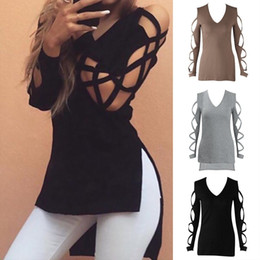 Wholesale Womens Loose Blouses - Fashion Womens Summer V-neck Long Sleeve Shirt Casual Blouse Loose Cotton Blend Tops T Shirt Plus Sizes S-XXL CL139