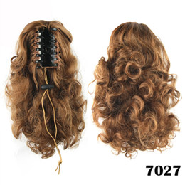 Wholesale wholesale fake hair ponytail - Wholesale-14Inch 4 Colors Short Women Synthetic Hair Curly Bundles Fake Ponytail Tail Drop Black Brown Kinky Curly Pony Tail Horse