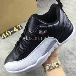Wholesale Free Taxi - Free Shipping Mens Air Retro 12 Low Red Suede Playoffs Taxi Georgetown Basketball Shoes Retro 12s Low Sneakers Size8-13 Come With Shoes Box