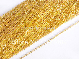Wholesale Gold Plated Jewelry Making Supplies - Free Shipping! 100M Gold Plated Tone Metal Links-Opened Cable Chains 2mm Width Jewelry Making Supplies