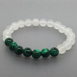 Wholesale White Jade Gemstones - 8mm malachite beads bracelet,white jade gemstone bracelet ,Elastic malachite bracelet .Gemstone Bracelet,Gifts