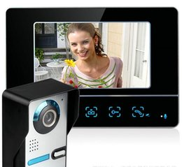 Wholesale Wired Video Intercom Doorbell Systems - Freeship 7 inch screen color video door phone intercom system video intercom doorbell monitors door bell video