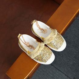 Wholesale Shoe Anklets - Fashion Sequin Girls Casual Princess Shoes tassels Children Shoes boutique anklet Gold silver Kids Shoes Girl wear Kids Kids Footwear A1246