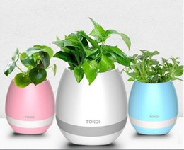 Wholesale Led Lights Flower Pot - TOKQI Bluetooth Playing Smart Music Flowerpot Plant Interaction Speaker With Colorful Led Light Touch Sensor With Retail Box DHL