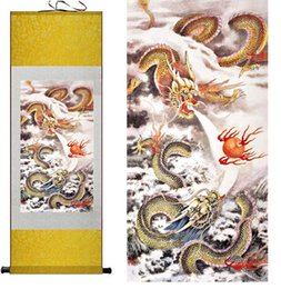 Wholesale Dragon Wall Painting - Top qualtiy Dragon painting dragons playing the fire ball Chinese scroll painting dragon Wall Art Scroll Hang Picture
