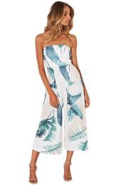 Wholesale Dark Legs - wide leg jumpsuit 2017 Beach Dark Blue Leaf Print Strapless Capris Romper Womens Summer Overalls Boho Macacao