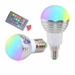 Wholesale Led Color Changing Bulb - RGB LED Bulb E27 E14 3W LED Lamp Light Led Spotlight Spot light Bulb 16 Color Change Dimmable +24Keys Remote Controller