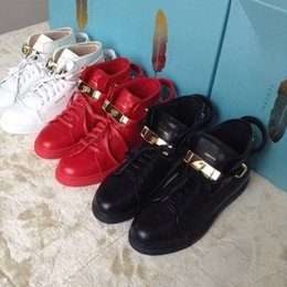 Wholesale Metal Sneakers - Hot Sale fashion casual shoes Men sneakers metal locks Women Comfortable Lace-Up Leather personality with decoration Shoes Size 36-46