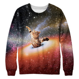clothes space Promo Codes - Wholesale- New Arrival 2017 S-3XL Hoodies For Men Space Cat Brand Clothing 3D Printed Sweatshirt Printed Hoodies Men's Pullover 02
