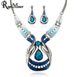 Wholesale Wholesale Indian Bridal Necklace Set - RAVIMOUR Blue Crystal Jewelry Sets Fashion Droplet Statement Necklaces Earrings Set for Women Bridal Parure Bijoux Femme New