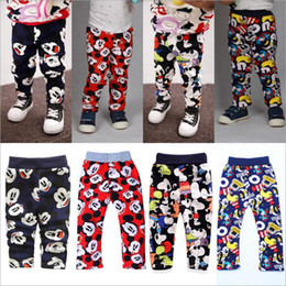 Wholesale Baby Trousers Pencil Pants - Kids Clothing Mickey Minnie Pants Cartoon Printed Leggings Fashion Velvet Trousers Winter Warm Pants Mouse Outdoor Baby Boys CLothes B2424