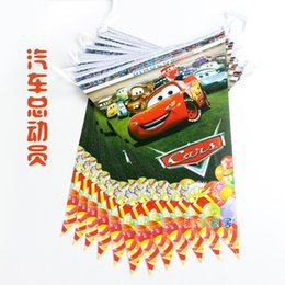 Wholesale Banner Settings - Wholesale- Party supplies 1 set car theme party kids girl birthday party decoration paper banner including 12 flags
