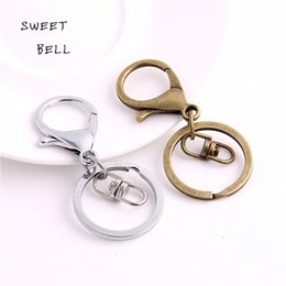 Wholesale Man Metal Ring - SWEET BELL Min order 10Pcs 30mm Key Ring & Key Chain two color Rhodium Plated Lobster Clasp Round Split Key chain Y01054