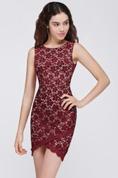 Wholesale Elegant Scooped Back Cocktail Dress - Scoop Neck Burgundy Lace High Low Cocktail Dress Zipper Back 2018 Elegant Prom Dress Short Party Dress CPS693