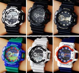 Wholesale Digital Led Mens Watch - Popular Mens G sport fashion Digital watches Led water proof Ga400 100 multifunction Trend sports watch with Box Case