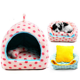 Wholesale Dog Houses For Kennels - Free shipping cat dog small pet bed dog kennels cute dot dog houses soft and warm for all seasons