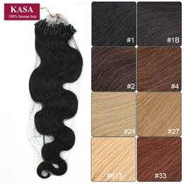"Wholesale Micro Loop Wavy Hair Extensions - Wholesale-Micro Loop Ring Hair Extensions Curly Wave Wavy 20"" 50cm 50g Brazilian Remy Human Natural Hair Hairpieces Black Brown Blonde"
