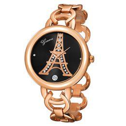L'orologio stabilito del braccialetto dell'oro di orologi 18K di modo delle signore alla moda e moderne è fascino della donna di manifestazione molto bello da