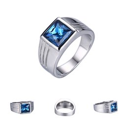 Wholesale Sapphire Engagement Ring Sets - 5Pcs High Quality Male Blue Stone Sapphire Ring For Men Wedding Engagement Stainless Steel Ring Size 7 8 9 10 11