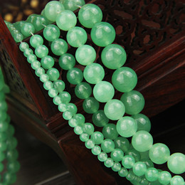 Wholesale Natural Stone Beads 12mm - 4 6 8 10 12mm Natural Green Aventurine Jade Stone Beads Green Chalcedony Loose Spacer Beads For Jewelry Making DIY Bracelet Necklace