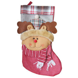 Wholesale Ornament Hangers - 3Pcs  Lot 46X 23.5Cm New Year Christmas Socks Santa Claus Tree Ornaments Stocking Hanger Candy Gift Bag Decorations Kids 2017Home New