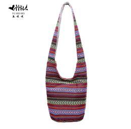 Wholesale Black Top Gypsy - Wholesale- Bohemian Women Shoulder Crossbody Bag Gypsy Hobo Hippie Bucket Messenger Cross Body Bag Handmade Hipster Thai Top Bags