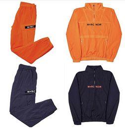 Wholesale Half Sleeves - 2017 Vintage Style M+RC NOIR Print Men Jackets Sets Windbreaker Hiphop Yoni Design Half Zipper Man Jackets Pullover Set Hoodies