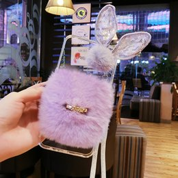 Wholesale Prime Eye - For Samsung galaxy j3 j5 j7 a5 a7 2016 2017 grand prime Cute lace eye buckle Rabbit fur soft phone case cover Lanyard
